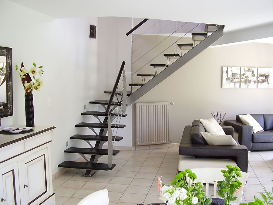 Pin escalier int rieur escaliers mixtes on pinterest for Escalier interieur design